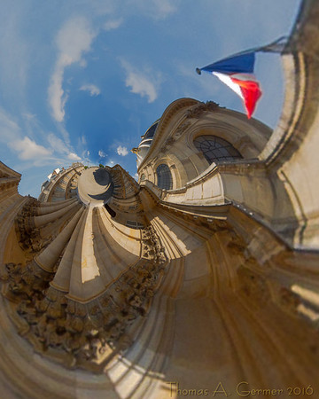 Institut de France (Stereo 5), Spherical panorama, stereographic projection