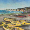 Kayaks on La Jolla Shores, 16x20, Pastel