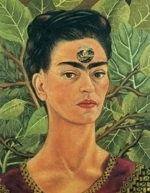 Thinking About Death.<br /> Frida suffered from lifelong pain due to a serious bus accident when she was in her 20s. Lying in bed for months, she began to paint.