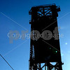 Bridgetown Portland<br /> Vivid blue sky and the black steel railroad bridge crossing the Wilamette in Portland Oregon