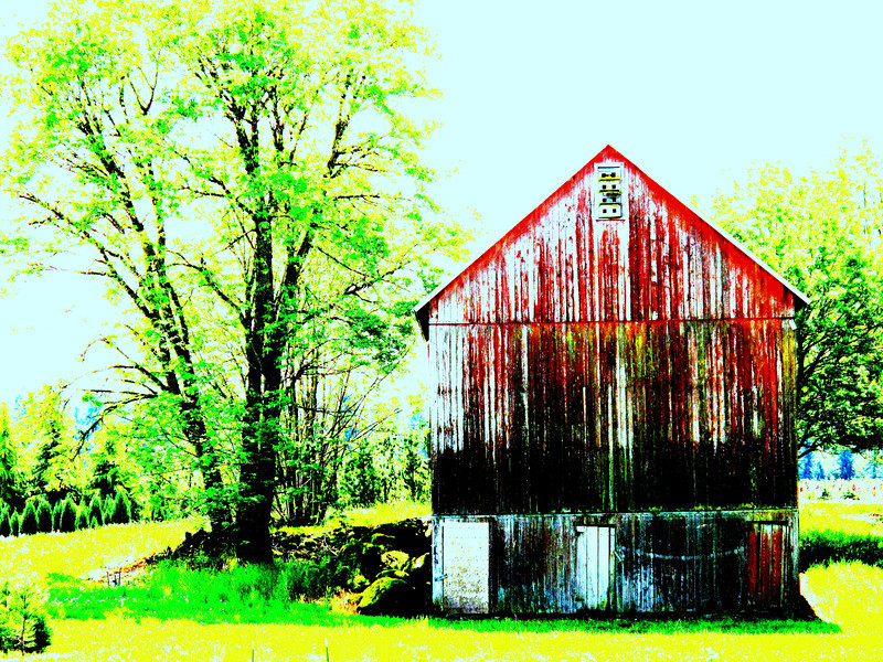The old barn with a bit of enhancement. I wanted to bring out the various colors on the boards...