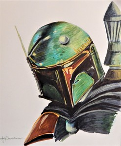 """Boba Fett 14""""x17"""" Tombow Felt Pens and Faber Pastel Pencils Just for fun on New Year's Day!"""
