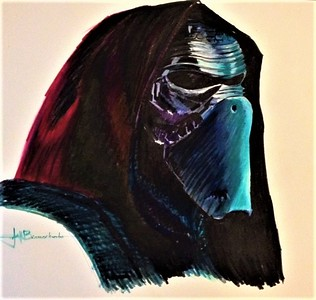 """Kylo Ren Tombow Felt Pen on Heavy Duty Bee Paper 14""""x17"""" Demo for Exploration in Drawing Class at the Triton Museum of Art"""