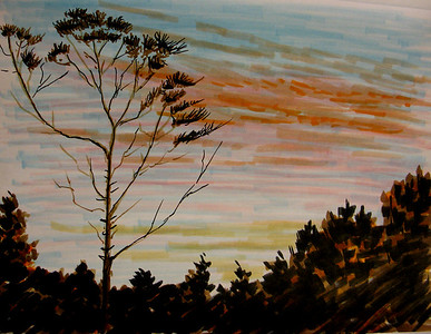 "Another Cedargate Sunset 81/2""x 11"" Felt Pen on Rendr Paper"