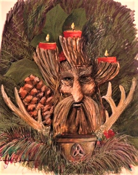 """The Green Fire in Yuletide 14""""x17"""" Tombow Felt Pens and Faber Pastel Pencils on Heavy Duty Bee Paper"""