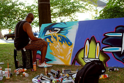 Aerasol artist at the Astoria Music & Arts Festival. Astoria Park 2010.