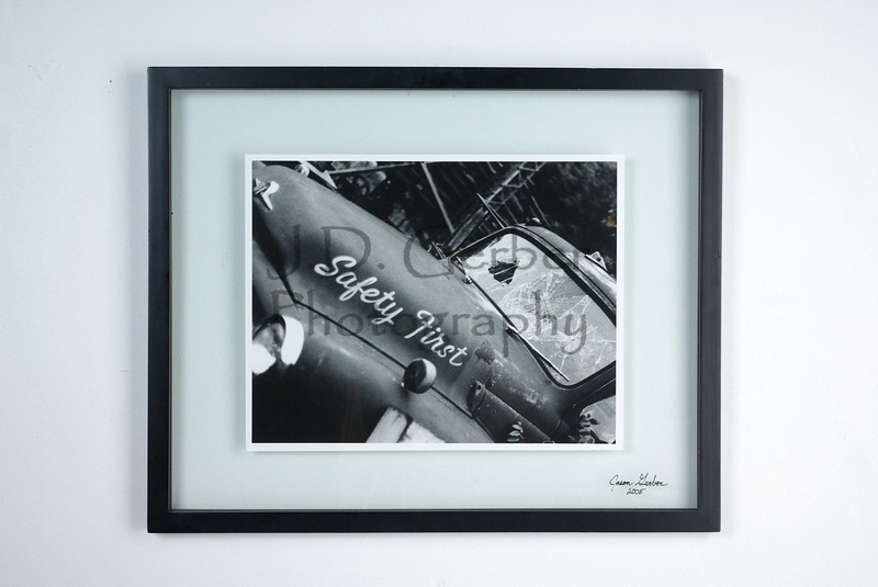 """Safety First""<br /> <br /> 11"" X 14"" Hand Printed Black & White Film Photograph.<br /> 16"" X 20"" Glass Trap Frame<br /> <br /> ""I took this photo when I was 16 years old.  Remained un-printed untill I was 31.  Truly one of my favoites.""- JDG."