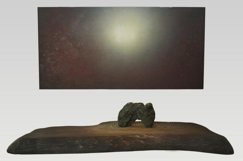 "Painting: ""Winter Blue"";2008;48"" x 24"";Oil paint on wood board<br /> <br /> Sculpture: ""Great Land"" (大地 Daichi), 2008; W 26"" x D 16"" x H 8""; Stone (jsaper) and paint on wood board (deodar cedar)"