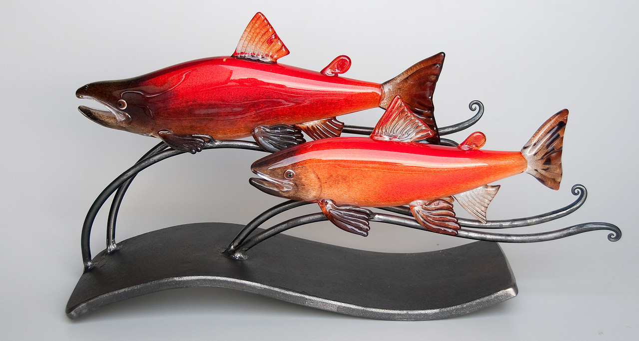 Kokanee Pair with metal base