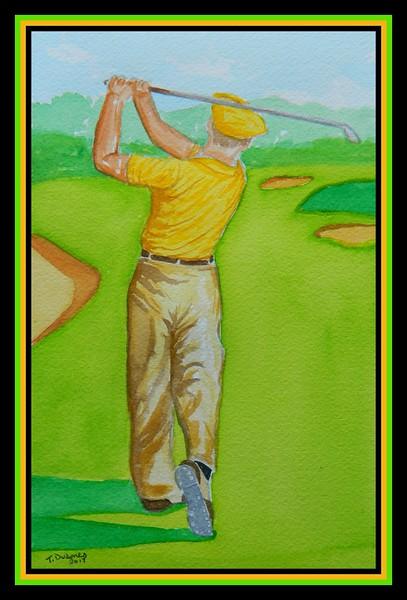 Ben Hogan,  1950 U.S. Open, Merion GC,  Ardmore, PA,  6x9, watercolor, sep 27, 2917.
