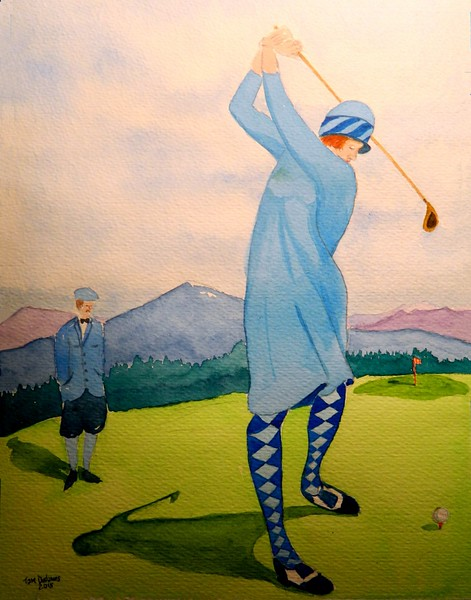 Lady Teeing Off, the Lake Placid Club,  1920, 9x12, watercolor, dec 1, 2015.