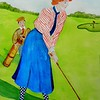 Lady Goes for the Green, circa 1900, 11x15, watercolor, dec 21, 2015.