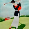 Lady Playing Westchester CC, 1920. 9x11.5, watercolor, nov 20, 2015.