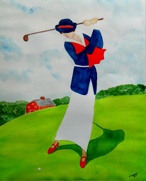 Lady Playing Westchester CC, 1920 - II. 14x17, watercolor, nov 22, 2015.