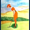 Trying for Par, Links Course, 1920. 11x14.5, watercolor, jan 21, 2016.