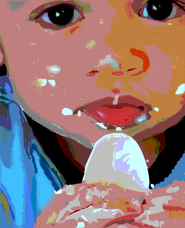 """Vector art drawing by Nancy Ann titled """"Manny's 1st Cake."""" 7/2012"""