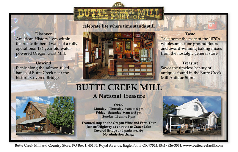 """Editorial advertisement designed for Butte Creek Mill in Eagle Point, OR. My photos were also used on their website:  <a href=""""http://www.buttecreekmill.com"""">http://www.buttecreekmill.com</a>"""