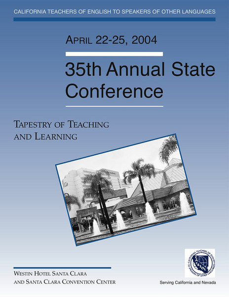 Brochure cover for the conference of California Teachers of English to Speakers of Other Languages (Catesol) in San Jose, California.
