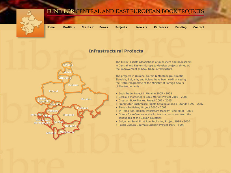 """Sample page of website design for Fund for Central European Book Project, Amsterdam, The Netherlands: <a href=""""http://www.ceebp.org"""">http://www.ceebp.org</a>"""