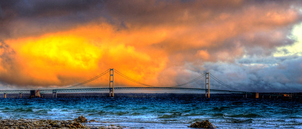 Sunrise at the Mackinac Bridge