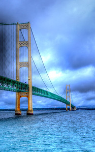 Mackinac Bridge viewed from the Arnold catamaran on its way to Mackinaw Island