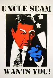 "Mark Planisek  ""Uncle Scam Wants You!""  Hand painted mixed media collage  24"" x 18"" (2003)  $350."