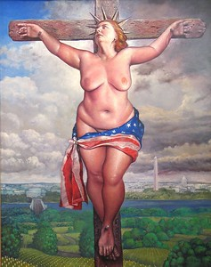 "Scott Brooks  ""Liberty Takes a Holiday""  (2003)  Oil on canvas  60"" x 48""  $10,000."