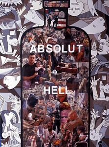 "Helen Zughaib, ""Absolut Hell"" Gouache, mixed media on canvas 40"" x 30"" (2004)  $1,800."