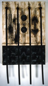 "Joroko  ""Black Blood"" (2004)  Mixed media on canvas  59"" x 32"" x 7""  $500."