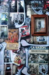"Claudia Olivos  ""Spain: Never Again, My Son""  (2003)  Mixed media on canvas  40"" x 28"" x 4""  $3,600."