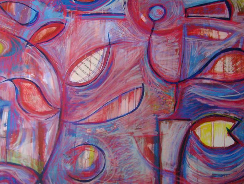 """Ben Johnston """"Night Bird"""" Painting"""