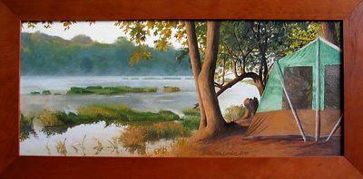 "Emily Mills Johnson, ""Shenandoah Morning,"" Oil on canvas...$875."