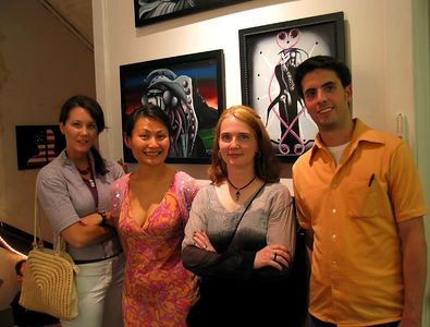 Johanna, Louella, Aleta and Robert with Aleta's paintings, Opening Night