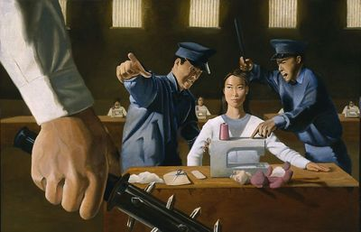 "Robert Counts, ""Life in a Chinese Labor Camp,"" oil on canvas"