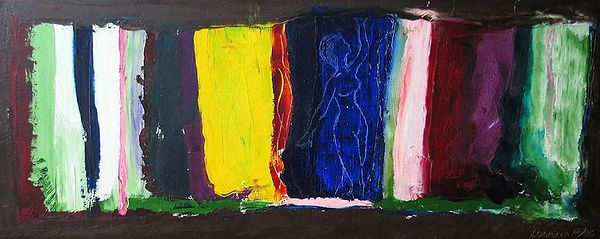"Louella, ""Lady In Colors,"" Oil on canvas, 18""x 42""....$750."