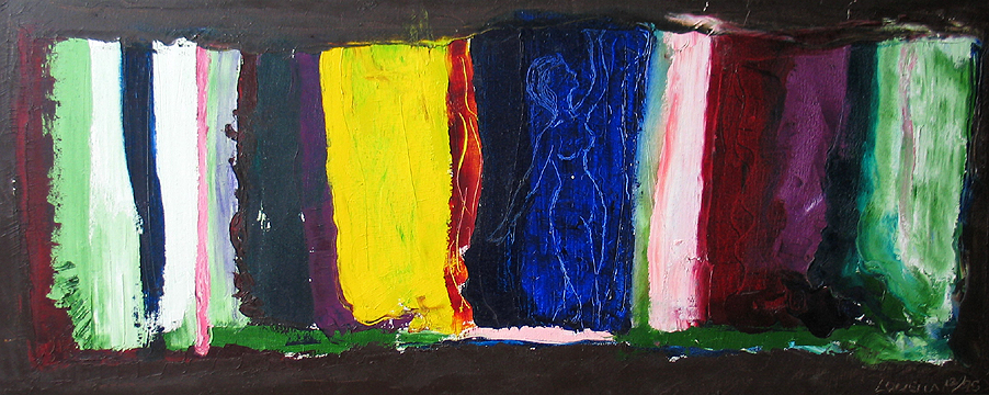 """Louella, """"Lady In Colors,"""" Oil on canvas, 18""""x 42""""....$750."""