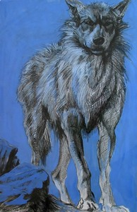 "Ardath Hill, ""White Wolf,"" (2004) Mixed media -SOLD- Ms. Hill's  ""Black Wolf""  is also on view & available at Modern ARF.  See page 3 of the gallery."