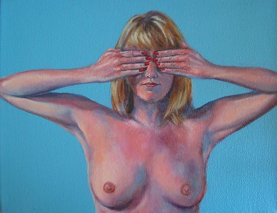 """Candace Keegan, """"See No Evil,"""" ( 2004 ) Oil on canvas, Retail: $ 700. The triptych, """"See No Evil, Hear No Evil, Speak No Evil"""" is in the exhibition; $ 1,900."""
