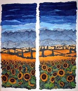 "Ronni L. Jolles ""Sunflower Fields Forever"" (2004) Layered paper & Pastel  Diptych, 72"" x 60""...Image copyright Ronni L. Jolles 2004"