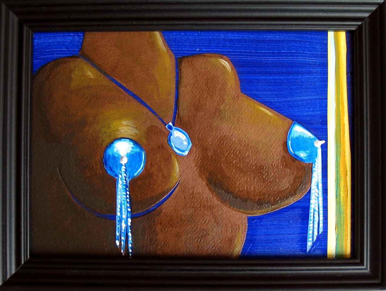 "Jared Davis, ""Crystal City Blue,"" ( 2004 ) Acrylic on masonite; triptych- Retail: $400. for set of three"