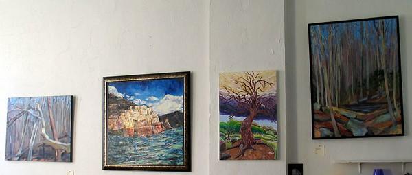 "Landscape Room: Brenda M Sylvia  ""November Trees"" (2004) $650.; Maggie O'Neill, ""Cinque Terra"" (2004) $1,600.; John Aaron's ""Witness Tree"" (2002) $1,100.; Silvia's ""Trail View"" (2004) $950."