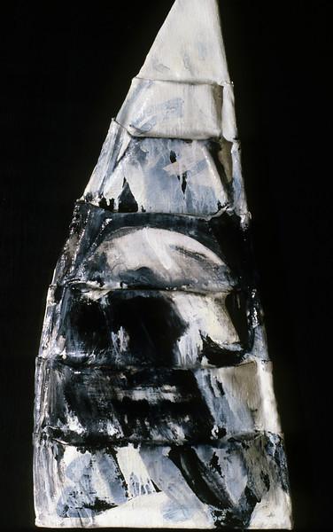 "in medias res 4. <br /> Oil on formed linen, 12.5"" x 4.5"" x 22.5"", 1985."