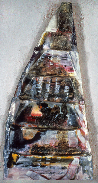 "in medias res 2. <br /> Oil on formed linen, 12.5"" x 4.5"" x 22.5"", 1985."