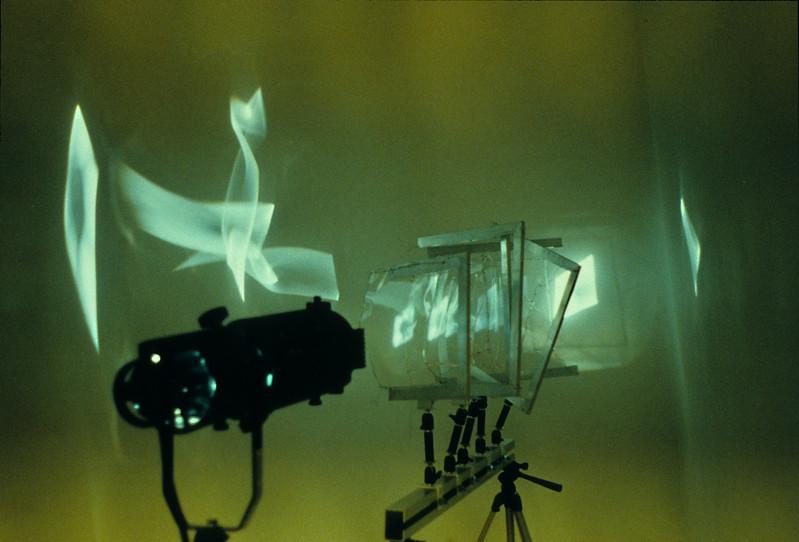 Untitled. Spotlight, aluminum, Mylar, 8'h x 6'w x 8'd, 1997.