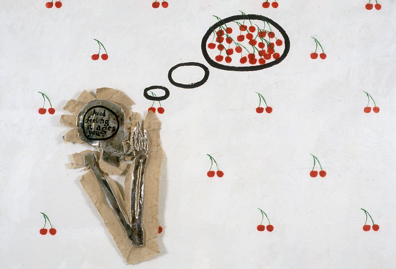 """""""Avoid Feeling It Ages You,"""" said the Bloodless Critic with Immeasurable Logic. Oil paint & metallic coating on linen floating on painted wall, approx. 8' x 8' x 3"""", 2005."""