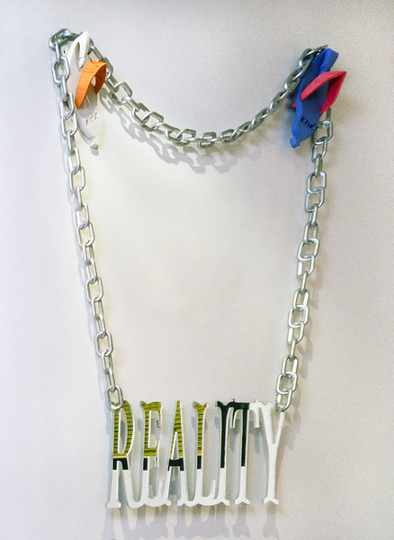 """Bling-Reality. Mirror, plastic chain, and foam rubber, 36""""X48""""X4"""", 2004."""