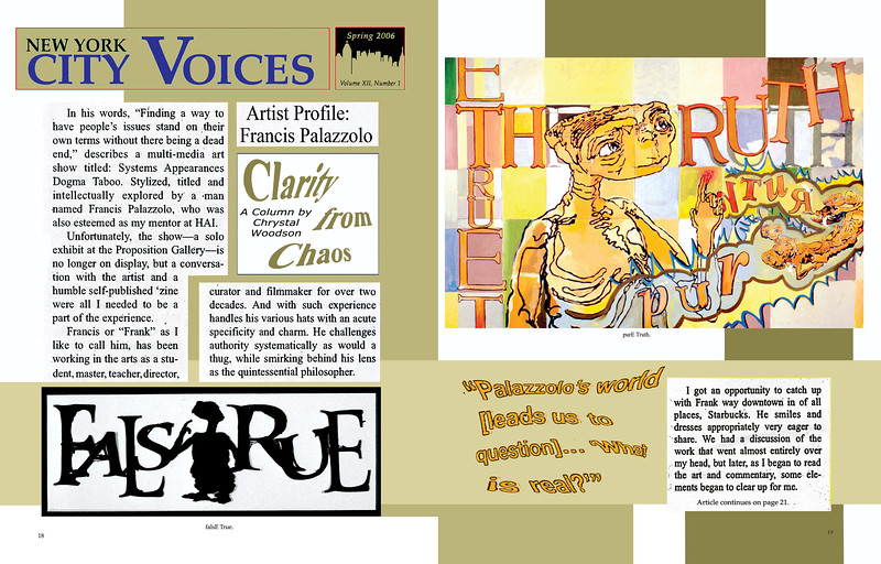 """Exhibition Review: Woodson, C. """"Clarity from Chaos,"""" New York City Voices, Volume XII, Number 1, Spring, p.19, 2006."""