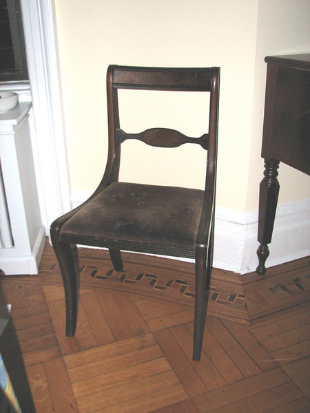 American Empire sabre leg chair, ca. 1830-40, one of a set of 6..