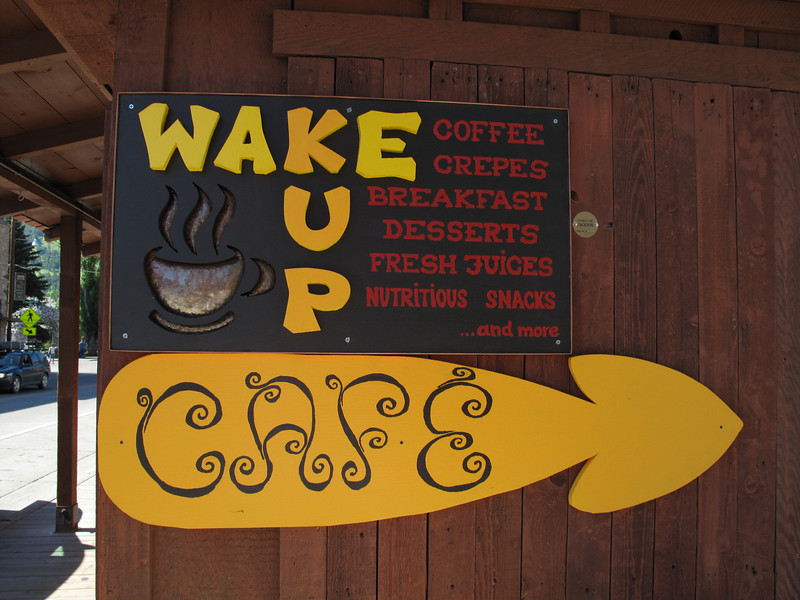 "I made these signs for a coffee shack that we had together with a friend in downtown Jackson Hole. The upper sign is layered, the coffee cup is copper and the yellow letters are cut out of 3/4"" particle board. Its quite eye catching..."