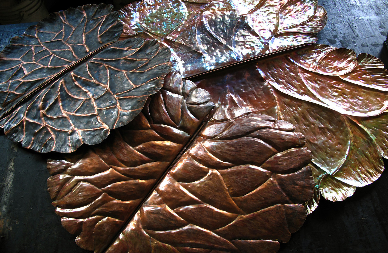 Different size, copper Lilly pads. The biggest on is 3'X3'
